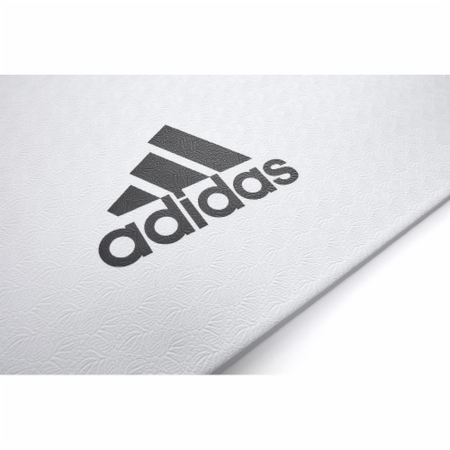 Adidas Universal Exercise Slip Resistant Fitness Yoga Mat, 8mm Thick, White Perspective: bottom