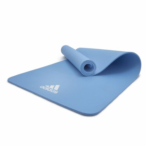 Adidas Universal Exercise Slip Resistant Fitness Yoga Mat, 8mm Thick, Glow Blue Perspective: bottom