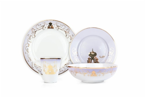 Disney Princess Themed 16 Piece Ceramic Dinnerware Set Collection 1 | Plates | Bowls | Mugs Perspective: bottom