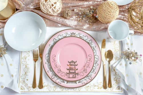 Disney Princess Themed 16 Piece Ceramic Dinnerware Set Collection 2 | Plates, Bowls, Mugs Perspective: bottom