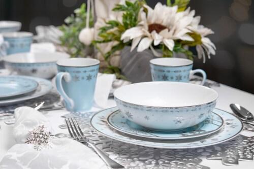 Disney Frozen 2 Anna & Elsa Ceramic Dining Set Collection | 16-Piece Dinner Set Perspective: bottom