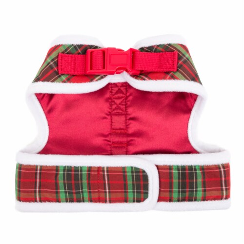 Simply Dog Mission Pets Plaid Fuzzy Trim Wrap Harness - Red Perspective: bottom