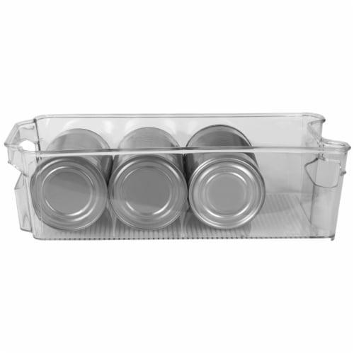 Stackable Medium Plastic Fridge Pantry and Closet Organization Bin with Handles Perspective: bottom