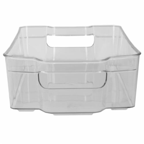 Stackable Large Plastic Fridge Pantry and Closet Organization Bin with Handles Perspective: bottom