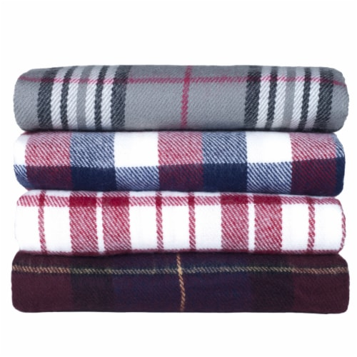 Lavish Home Cashmere-Like Blanket Throw - Blue/Red Plaid Perspective: bottom