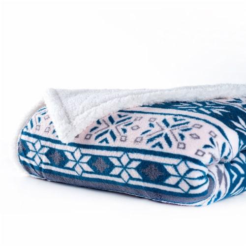 Lavish Home Fleece Sherpa Blanket Throw - Snowflakes Perspective: bottom