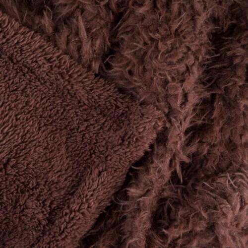 Lavish Home Solid Soft Plush Sherpa Fleece Throw Blanket - Coffee Perspective: bottom