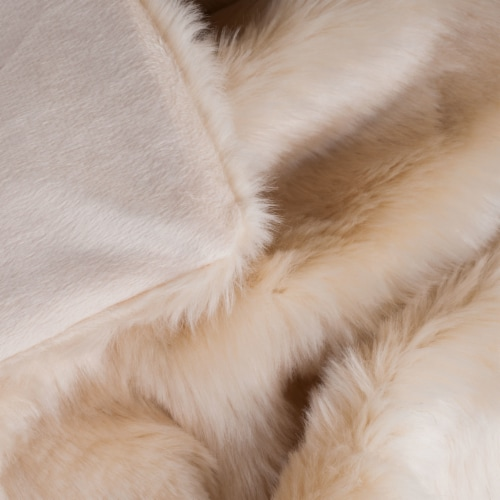 Lavish Home Luxury Long Haired Faux Fur Throw - Beige Perspective: bottom