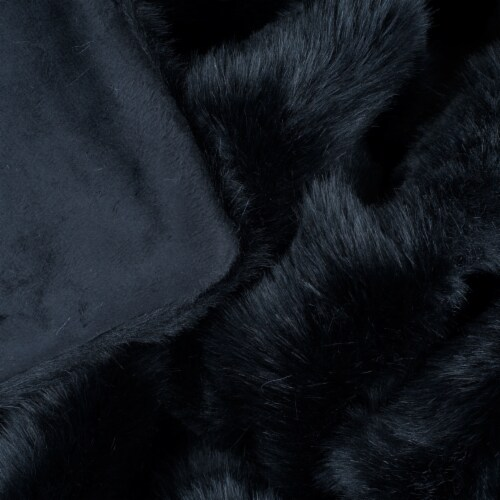 Lavish Home Luxury Long Haired Faux Fur Throw - Black Perspective: bottom