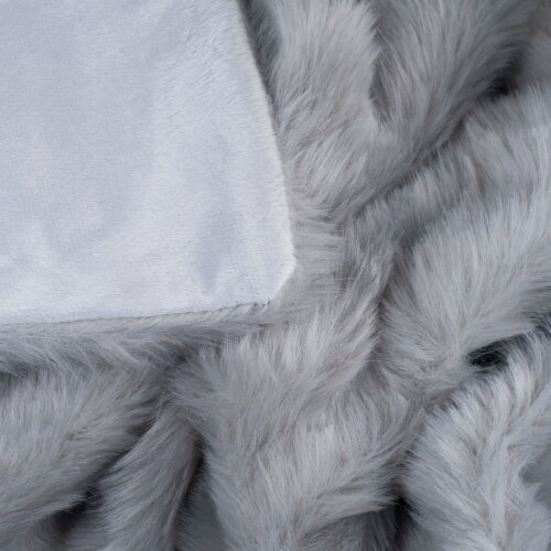 Lavish Home Luxury Long Haired Faux Fur Throw - Grey Perspective: bottom