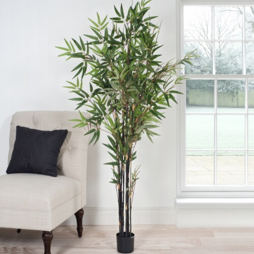 Pure Garden 5 Foot Japanese Bamboo Artificial Tree Perspective: bottom