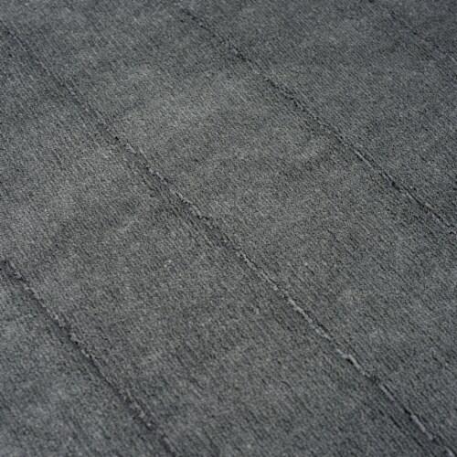 Lavish Home 2 Piece Memory Foam Striped Bath Mat Set - Platinum Perspective: bottom