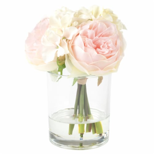 Pure Garden Hydrangea and Rose Floral Arrangement – Pink and Cream Perspective: bottom