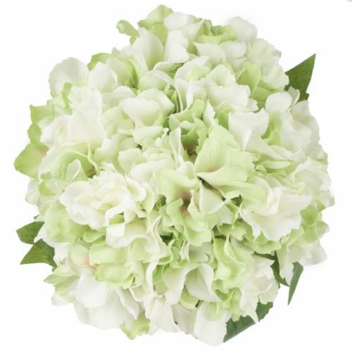 Pure Garden Hydrangea Floral Arrangement with Glass Vase - Green Perspective: bottom