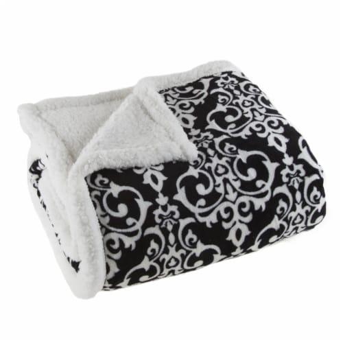 Lavish Home Fleece Sherpa Blanket Throw - Black/White Perspective: bottom
