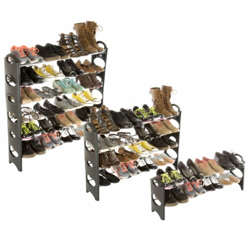 Everyday Home 6 Tier Stackable Shoe Rack 24 Pair Capacity - Black Perspective: bottom