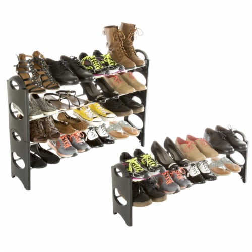 Everyday Home 4 Tier Stackable Shoe Rack 16 Pair Capacity - Black Perspective: bottom