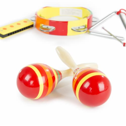 Kids Percussion Musical Instruments Toy Set Maracas Harmonica Triangle Perspective: bottom
