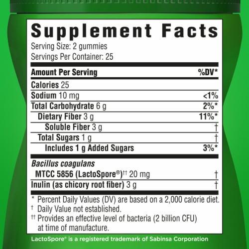 Benefiber Prebiotic Fiber Assorted Fruit Flavor Dietary Supplement Gummies Perspective: bottom
