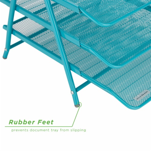 Mind Reader 3-Tier Mesh Paper File Tray Desk Organizer - Turquoise Perspective: bottom