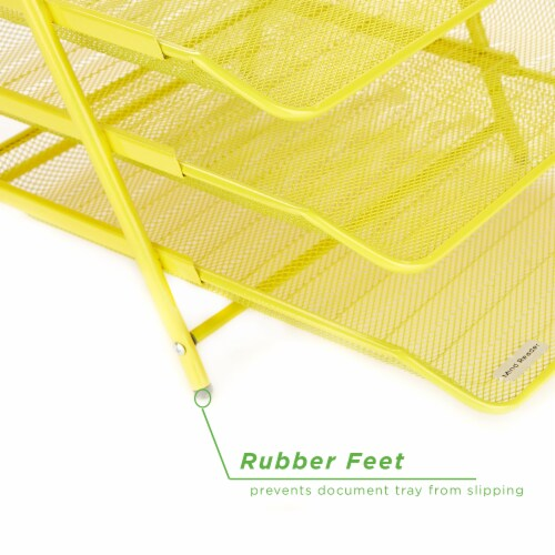 Mind Reader 3-Tier Mesh Paper File Tray Desk Organizer - Yellow Perspective: bottom