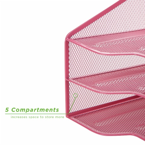 Mind Reader 5 Compartments Desk Organizer Tray - Pink Perspective: bottom