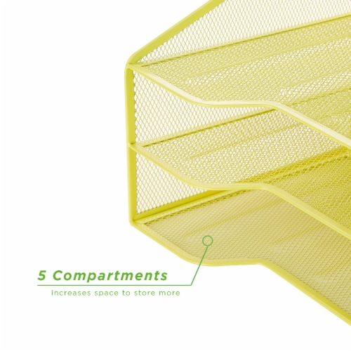 Mind Reader 5 Compartments Desk Organizer Tray - Yellow Perspective: bottom