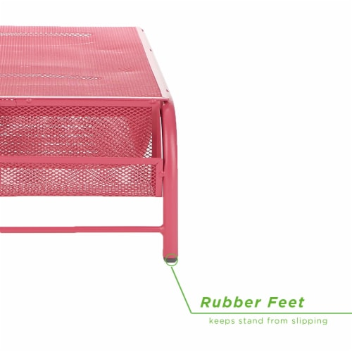 Mind Reader Metal Mesh Monitor Stand and Desk Organizer with Drawer - Pink Perspective: bottom