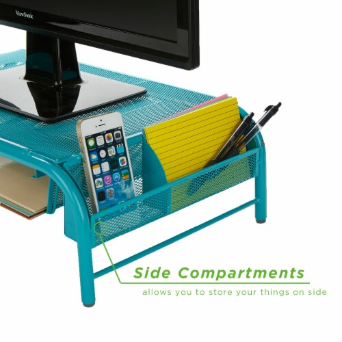 Mind Reader Metal Mesh Monitor Stand and Desk Organizer with Drawer - Turquoise Perspective: bottom