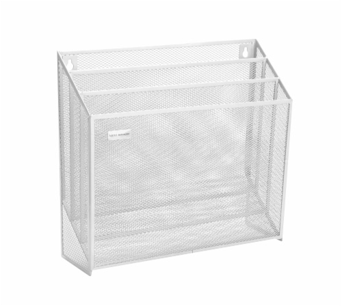 Mind Reader 3-Tier Mesh Free Standing and Wall File Holder - White Perspective: bottom