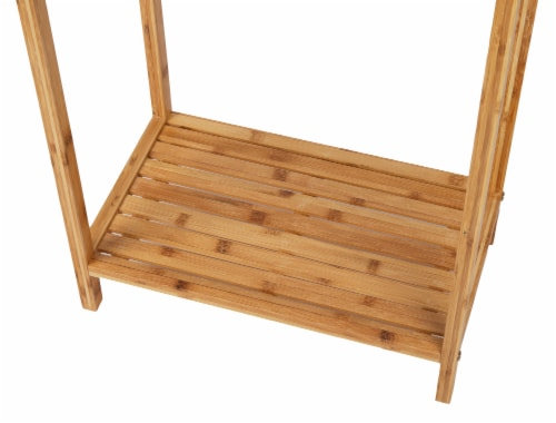 Mind Reader 3-Tier Freestanding Bamboo Drying Rack with Bottom Shelf Perspective: bottom