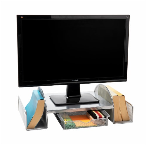 Mind Reader Mesh Monitor Stand with Side Storage - Silver Perspective: bottom