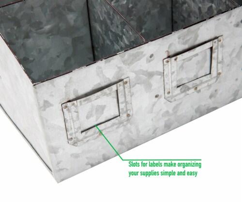 Mind Reader 6 Compartments Galvanized Steel Organizer - Silver Perspective: bottom