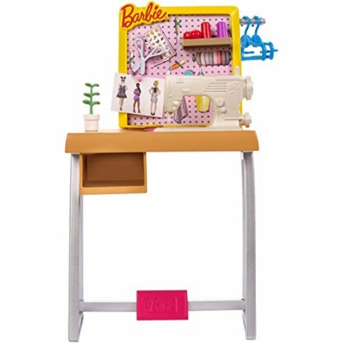 Barbie Fashion Design Studio Playset with Sewing Machine Station, Dress Form and Themed Toys Perspective: bottom