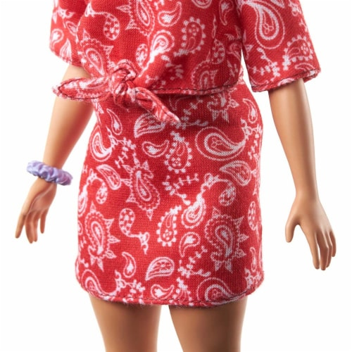 Barbie Fashionistas Doll with Long Pink Hair Wearing a Red Paisley Top & Skirt Perspective: bottom