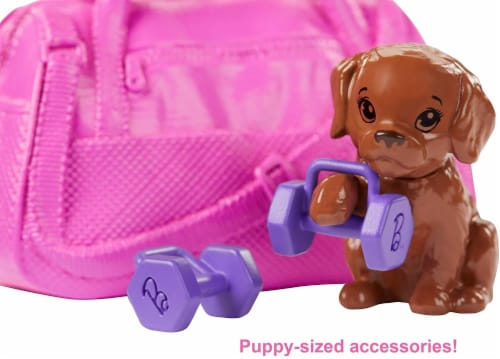 Barbie Fitness Doll, Red-Haired, with Puppy and 9 Accessories, Including Yoga Mat with Strap Perspective: bottom