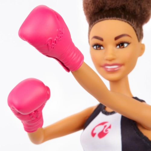 Barbie Boxer Brunette Doll With Boxing Outfit And Pink Boxing Gloves Perspective: bottom