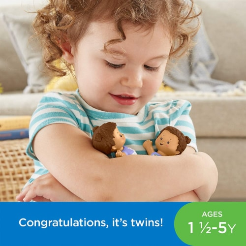 Fisher-Price Little People Snuggle Twins, Figure Set for Toddlers, Brunette Perspective: bottom