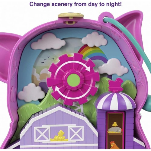 Polly Pocket On The Farm Piggy Compact, Farm Theme, Micro Polly Doll & Friend Doll Perspective: bottom