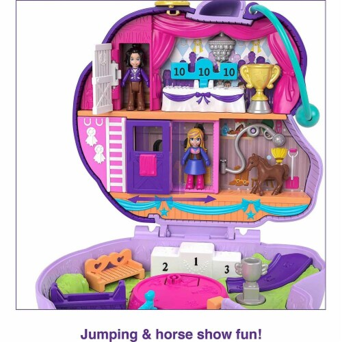 Polly Pocket Jumpin? Style Pony Compact with Horse Show Theme, Micro Polly Doll & Friend Perspective: bottom