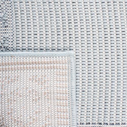 Martha Stewart Courtyard Indoor Outdoor Area Rug - Aqua / Cream Perspective: bottom