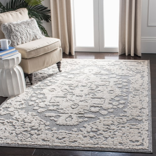 Martha Stewart Collection Lucia Shag Area Rug - Light Gray/White Perspective: bottom