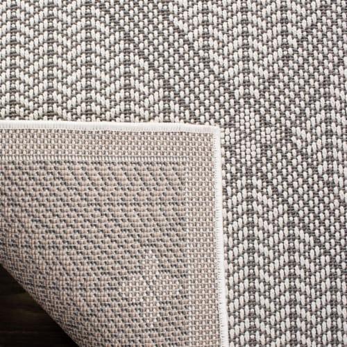 Martha Stewart Courtyard Indoor Outdoor Accent Rug - Charcoal / Beige Perspective: bottom