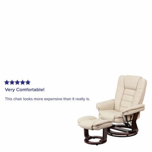 Flash Furniture Leather Recliner in Beige Perspective: bottom