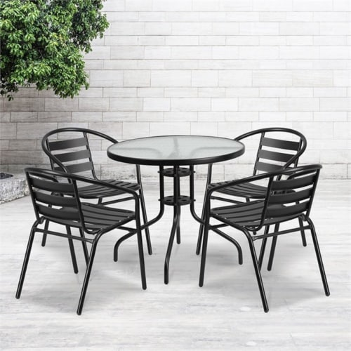 Flash Furniture 31.5  Round Glass Top Patio Dining Table in Black Perspective: bottom