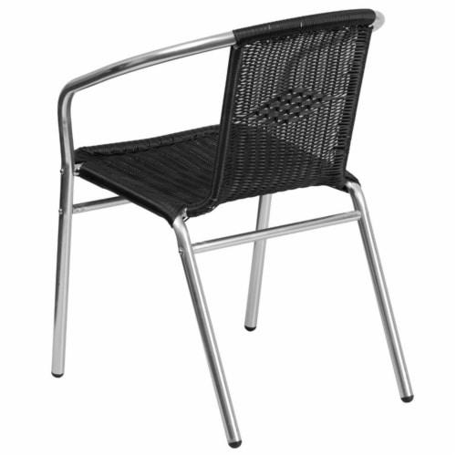 Flash Furniture TLH-020-BK-GG Commercial Aluminum & Black Rattan Indoor & Outdoor Restaurant Perspective: bottom
