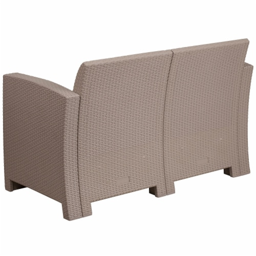 Flash Furniture Wicker Patio Loveseat in Light Gray Perspective: bottom
