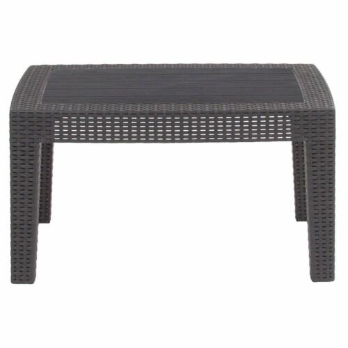 Flash Furniture Wicker Plank Top Patio Coffee Table in Dark Gray Perspective: bottom