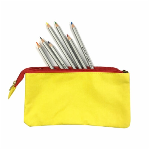 Wrapables Three Layer Multifunctional Pencil Case Cosmetic Bag, Yellow Perspective: bottom