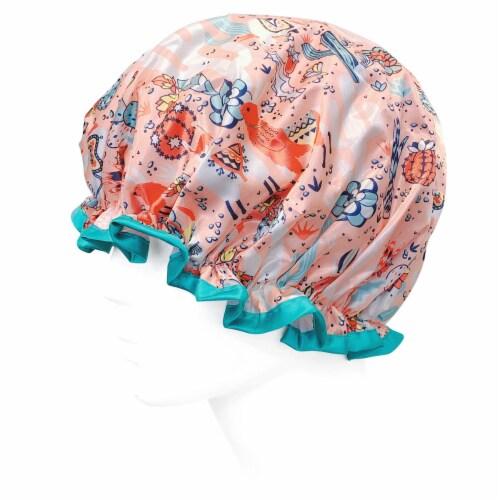 Wrapables Reusable Women's Waterproof Shower Caps for Long Hair, Desert Fun Perspective: bottom